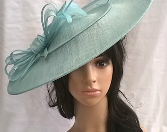 Juliet Bow..Deep Aqua Hatinator..Stunning  Sinamay Fascinator Hat on a Headband..Hatinator