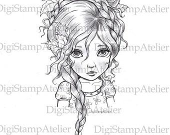 Braided Girl. INSTANT DOWNLOAD Digital Digi Stamps.