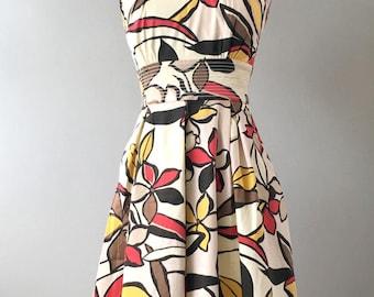50s Hawaiian Dress, Vintage Tiki Dress, 50s Retro Dress, Vintage Hawaiian Dress, Mid Century Dress, Polynesian Dress, Hawaiian Fashion