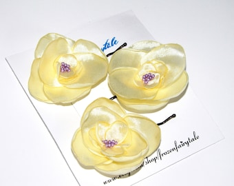 Yellow and Purple Fabric Flower Bobby Pin Hair Clip, Wedding Flower Girl Satin Bobby Pin, Bridesmaid Mother of the Bride Hair Embellishment