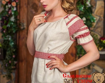 "Linen Blouse ""Enchantress"", russian blouse, slavic blouse, ethnic blouse, russian cloth, short sleeve blouse, linen woman shirt"