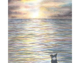 Border Collie dog 5x7 8x10 11x14 art print watercolor seascape ..and the lonely sea and the sky.. ocean sheepdog gazing at view old seadog