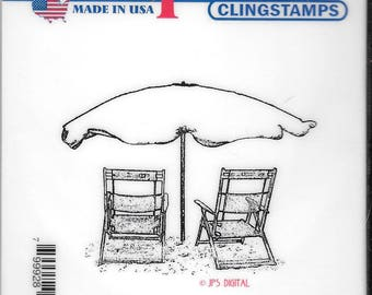 Deep Red Cling Stamps --  Beach Chairs  -- NEW -- (#2423)