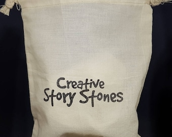 Cotton Drawstring Bag - Creative story stones - FREE standard shipping within Australia