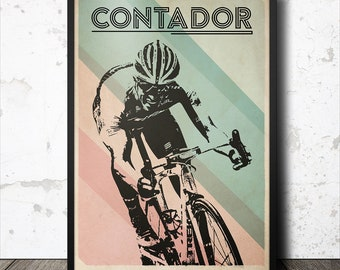 Alberto Contador Retro Cycling Art Poster