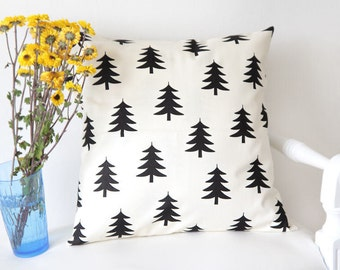 Trees Cotton Fabric, Black Trees Fabric, Oxford Cotton Fabric - By the Yard - 67981