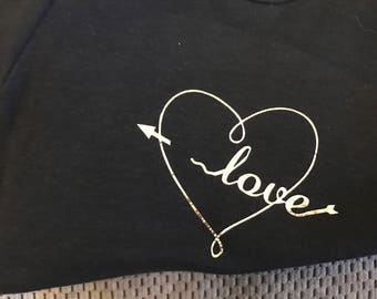 Love Heart Onesie black with gold vinyl lettering