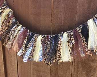 Cheetah Print Garland, READY to SHIP, Animal Print Fabric & Tulle Garland, Animal Print Decor, Shower, Party, Nursery Decoration