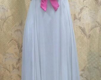 Vintage 1960s White Beaded Gown/White Chiffon Dress, Size Small