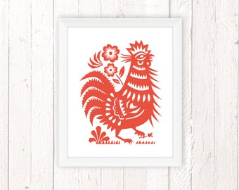 Rooster Art, Housewarming Gift, Rooster Picture, Chicken Print 11x14