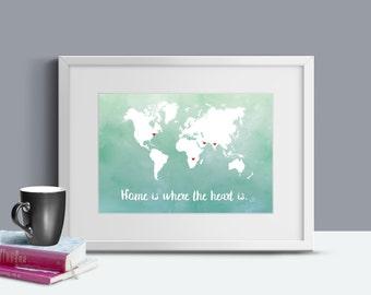 Personalized Map Art - World Map - World Travel Map - Country Map Art - Heart Map - Anniversary Gift - Wedding Gift - Printable Art