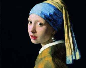 Johannes Vermeer : Girl with a Pearl Earring (1665) Canvas Gallery Wrapped Wall Art Print