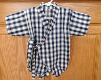 Plaid Baby Kimono, Navy Blue White Baby Kimono, Navy Blue White Baby Kimono Onesie, Baby Kimono, Baby Jinbei,  0-3 Mo, 3-6 Mo, 6-12 Mo