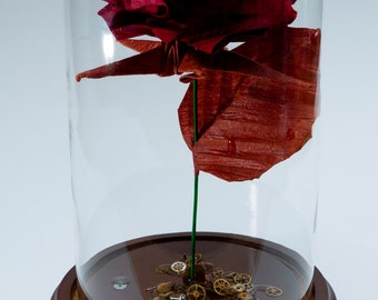Origami rose in red steampunk inspired large decorative globe -Made to order