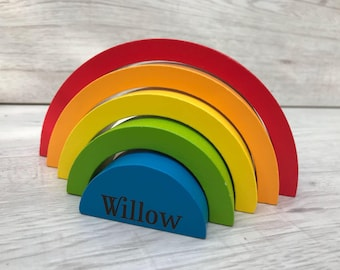 Rainbow wooden personalised learning toy - rainbow stacking toy - baby toy