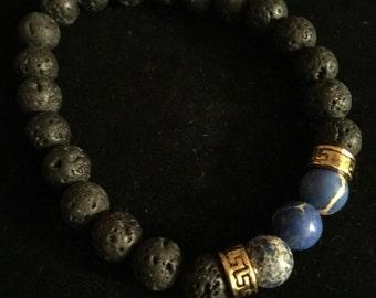 Blue lava bead