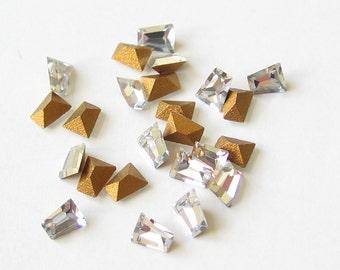 24 Swarovski Clear Tapered Baguette Keystone Crystal Rhinestones