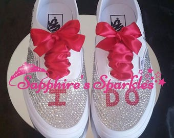 Red Vans Customised Vans Bride Vans Bling Vans Wedding Vans Wedding Shoes Bride Shoes Vans Red Wedding Pumps Red I Do Shoes