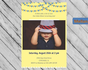 Personalized 1st Birthday Invitation, Printable 1st Birthday Invitation, First Birthday, One, Own Picture Invite, Custom Invite