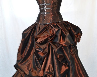 Steampunk Wedding Gown Copper Bustle With Steel Boned Corset