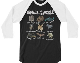 Animals Of The World 3/4 sleeve raglan shirt