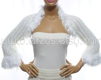 White Wedding Shrug Bridal Shrug Knit Shrug Bridesmaid Gift Evening Shrug Bridal Bolero Jacket Bridal Cover Up Wrap Shawl Weddings Clothing