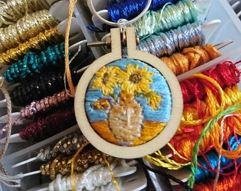 Sunflowers embroidered pendant