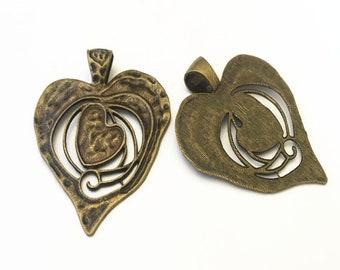 2pcs Antique bronze  Love Heart pendant charm 63mmx75mm