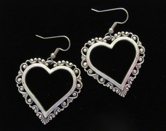 Heart Earrings Large Open Oxidized Matte Silver Valentine Love Romance Hearts Valentines Day ES457
