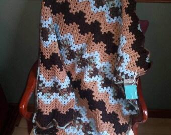 Blue and Brown Peaks and Valleys Baby Blanket