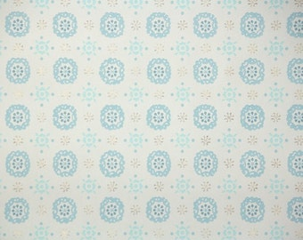 1950s Vintage Wallpaper by the Yard - Blue and White Geometric