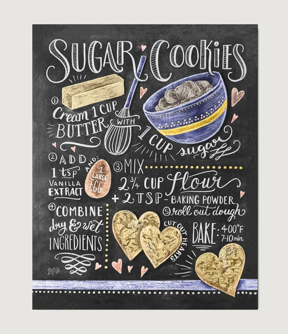 Kitchen Poster Food As Alphabet With Food Name: Sugar Cookies Recipe Print Baking Wall Art Cookie Recipe
