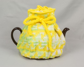 Knitted Teapot Cozy Lime green, White, Bright Yellow created in Scandinavian 2 color Fair Isle design