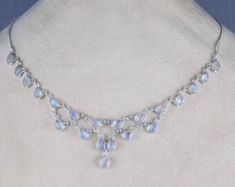 Rainbow Moonstone Necklace, Bezel Necklace, 925 Silver Necklace, Chain Necklace, Curb Chain, Blue Fire Rainbow Moonstone, Moonstone Necklace