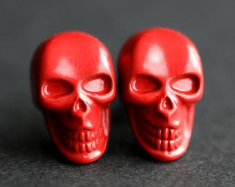 Red Skull Earrings. Red Earrings. Goth Skull Halloween Earrings. Post Earrings. Stud Earrings. Halloween Jewelry.