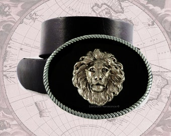 Large Belt Buckle Lion Inlaid in Hand Painted Glossy Onyx Enamel Oval Buckle Mixed Metals Buckle Custom Colors and Personlaized Option