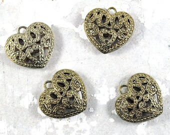 Large Filigree Metal Heart Pendant - Gold - 35 x 38mm - wedding favours - bridal shower favours - Jewellery and Craft Supplies