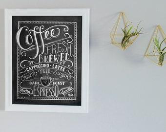 Coffee sign - Gift for mom - Coffee Lovers gift - Coffee Art Print - Chalkboard Art - Kitchen Print - Kitchen Art - Chalk Art - poster