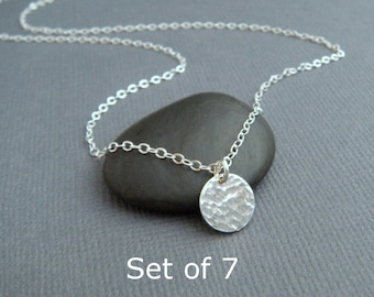"""bridesmaid necklaces. Set of 7 - tiny circle necklaces - sterling silver hammered disc. modern. simple. dainty. delicate. 3/8"""". gift set"""