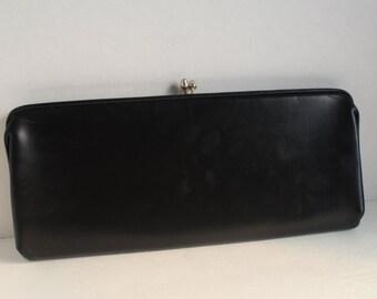 Vintage Black Clutch, Black Handbag, Black Evening Bag
