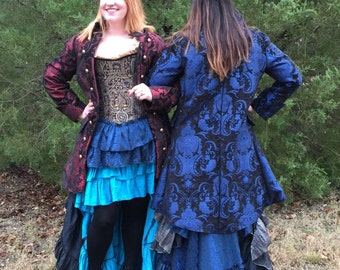 Red and Black Captains Coat Womenu0027s Pirate Coat Jacket Renaissance Costume & Blue and Black Fancy Airship Pirate Jacket Double-breasted