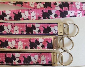 key fob, wristlet, keychain, lanyard - black and white Scottie, Westie on pink - M2136