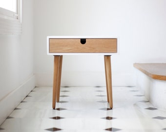 White nightstand / Bedside Table,  Scandinavian Mid-Century Style with 1 or 2 drawers and legs made of oak wood