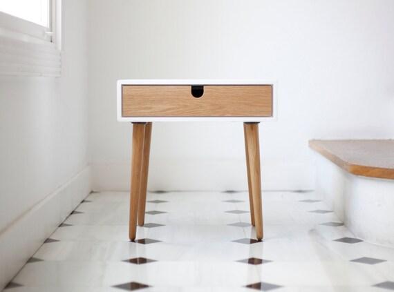 White Nightstand Bedside Table Scandinavian Mid Century