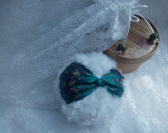 White Powder Puff Set, with a Teal Brocade Strap,  your choice of 100g Silky Dusting Powder and a Lace Bag