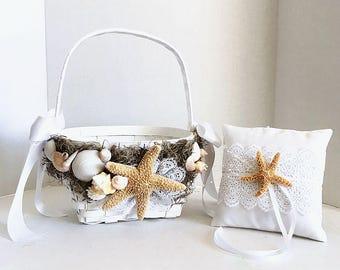Beach Seashell Flower Girl Basket | Ring Bearer Pillow SeaShell Starfish Beach Wedding | Lace Starfish Ring Pillow | Beach Destination