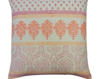 Pink Horizontal Cotton Stamp Pillow