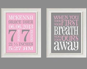 Nursery Art Print - Baby Girl Nursery Decor - Baby Birth Stats -  You Took Our Breath Away - Set Of Two Prints
