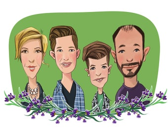 Custom family portrait, cartoon portrait, cartoon family portrait, custom cartoon illustration, digital cartoon portrait