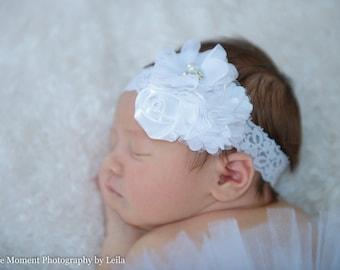 White Lace Headband, Baby Headband, White Hair Bow, Newborn Headband, Baptism Headband, Baby Christening Headband